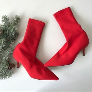 Zara Red Sock Boots Shoes